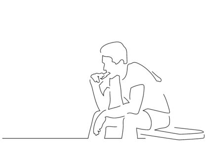 People eating isolated line drawing, vector illustration design. Food collection. Ilustracja