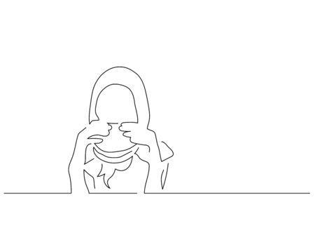 People eating isolated line drawing, vector illustration design. Food collection. Illusztráció