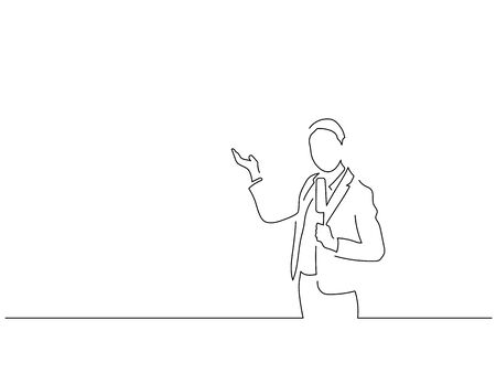 TV journalist isolated line drawing, vector illustration design.