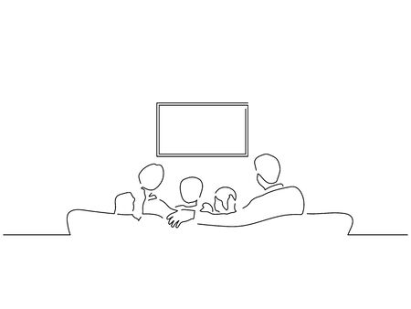 People watching tv isolated line drawing, vector illustration design.