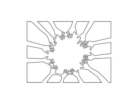 Group of hands line drawing, vector illustration design.