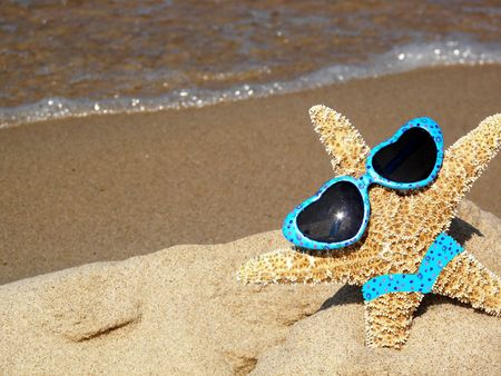 starfish with sunglasses and bikini photo