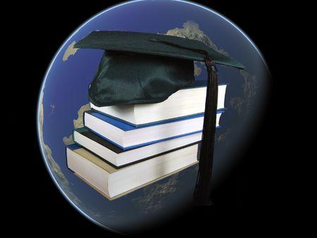 世界の本を持つグラッドハット