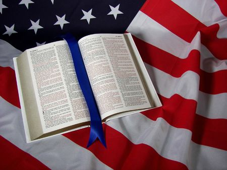 open bible on flag Stock Photo - 3104565
