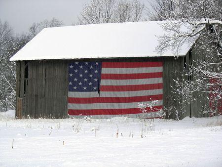 patriotic america: flag on barn