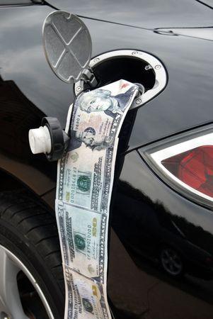 money going in gas tank