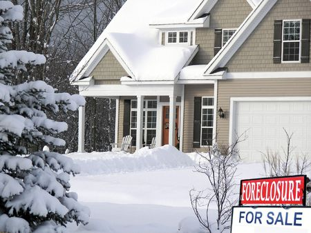 frigid: foreclosure sign in front of house