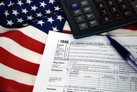 tax form on flag