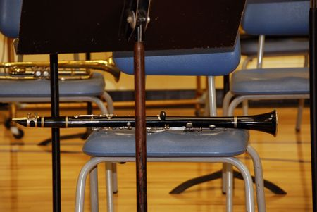 school band: clarinet on chair Stock Photo