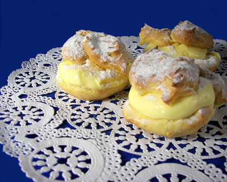 puffs: cream puffs on lace doily