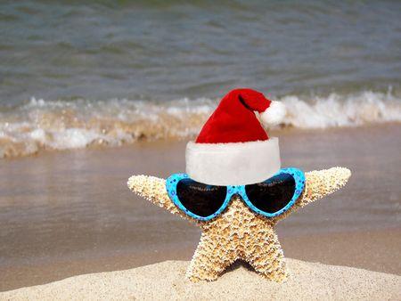 christmas starfish on beach Stock Photo