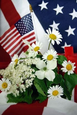 arrangment: patriotic floral arrangment in mailbox