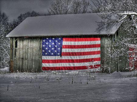 frigid: patriotic barn in winter Stock Photo