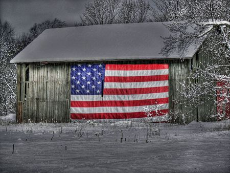 patriotic barn in winter Archivio Fotografico