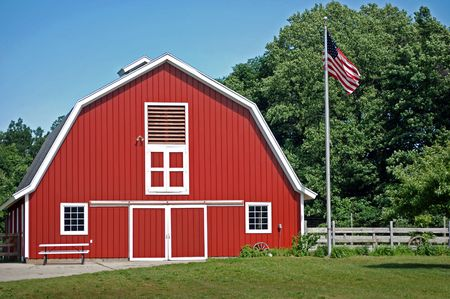 Bright new red barn with an old look.
