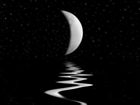 Moonlight reflection on the water.