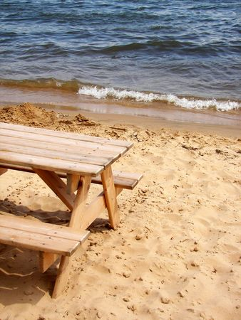Picnic table on the beach,