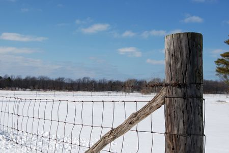 Country fence in winter. photo