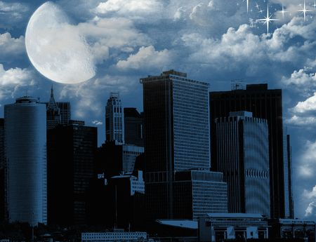 Big moon over the city,