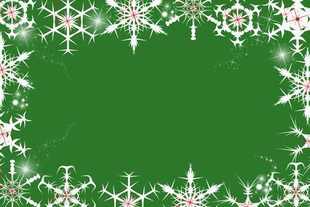 Christmas snowflake border on green. Stock Photo