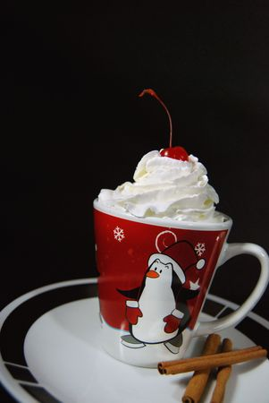 warm drink: Warm drink in a winter mug. Stock Photo