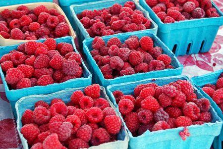 Fresh raspberries in aqua colored boxes. photo