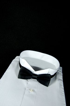 Crisp tuxedo shirt on black.
