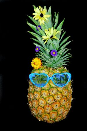 humor: Pineapple wearing shades with a tropical scene reflection.