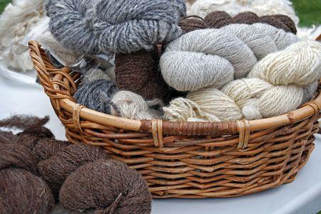 Homespun yarn in a wicker basket.