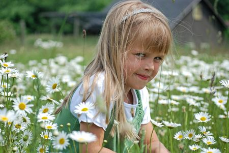 dainty: Little girl in a field of wild daisies.