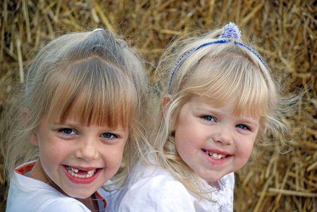 hayloft: Happy children in the hayloft.