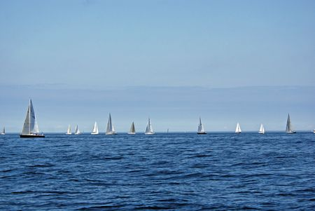 Sailboat race in the summer.