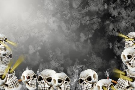 Illustration of skulls in the depth of an abyss. Reklamní fotografie