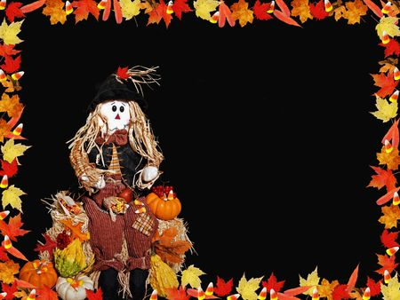 candy border: Leaf and candy border with scarecrow.
