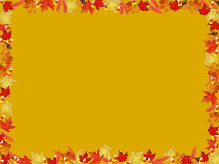Fall foliage and corn candy border on gold background. Фото со стока