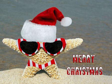 Santa hat on a starfish on the beach.