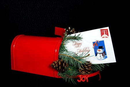 Holiday mail in red mailbox. photo