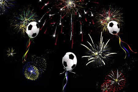 Soccer ball balloons in the sky with ribbons and fireworks. Stock Photo - 3888018