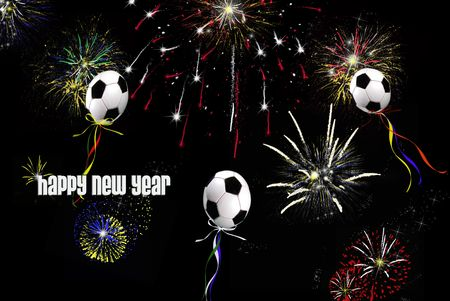 soccer: Soccer balloons and fireworks in the night sky.