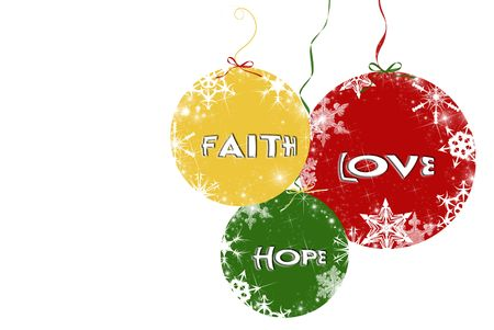 triplet: Faith, hope, and love on Christmas ornaments. Stock Photo