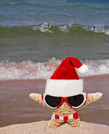 Santa starfish on a beach.