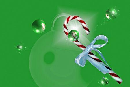 녹색 배경에 거품 사탕 지팡이입니다.