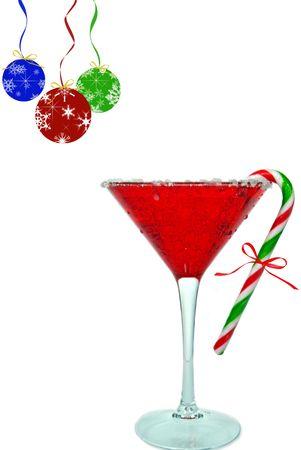 Holiday drinken en ornamenten op wit. Stockfoto