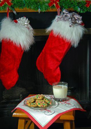 Christmas cookies and milk for Santa. photo