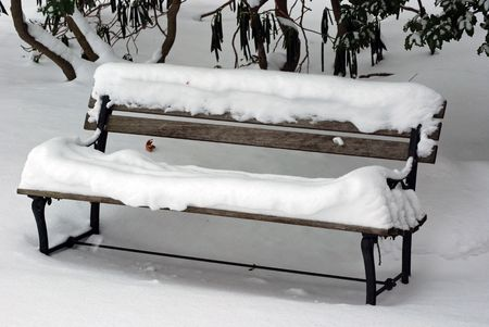vago: Vacant bench covered with fresh snow. Imagens