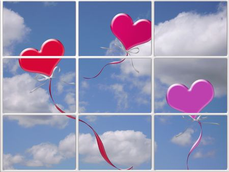 Heart balloons floating past a window.      photo
