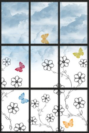 Blooms and butterflies in window. Stock Photo