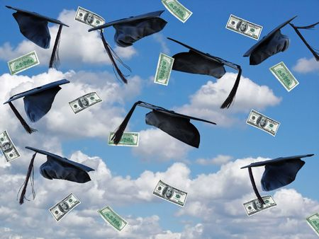 Airborne graduation caps and money in summer sky. Stock Photo