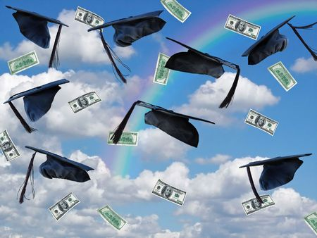 Graduation hats, money and rainbow in summer sky. Stock Photo
