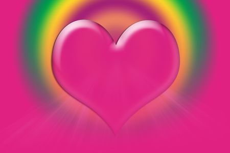 Bright hot pink heart with light rays on a gradient background.
